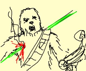 wookie gets shot by gun