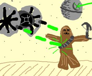 Chewie gets killed by TIE Fighter Laser