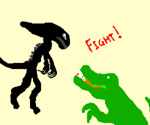 Alien vs. green dinosaur