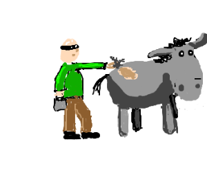 Bald guy steals hair from a donkey