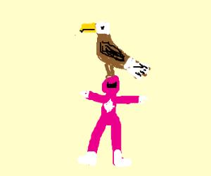Eagle sitting on Power Ranger