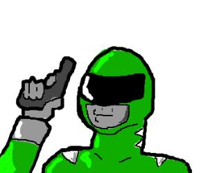 green power ranger with gun