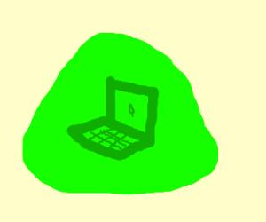 Slimer uses laptop