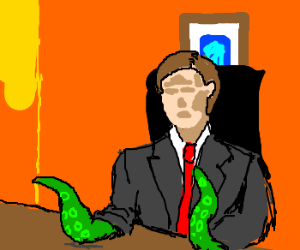 Faceless boss has octopus arms