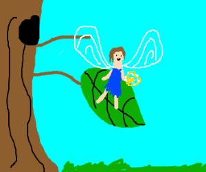 fairy on leaf holds out sparkling hand
