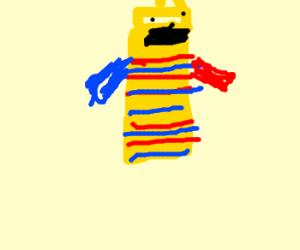 mustard creature wears red n' blue shirt
