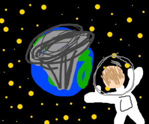 astronaut in space watches earth nuked