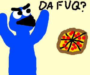 Cookie monster is confused by pizza