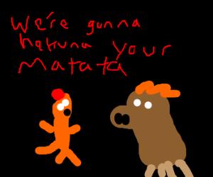 Pumba and Timon at night