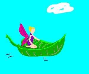 Fairy flying on leaf