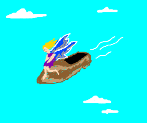 Fairy rides a flying shoe