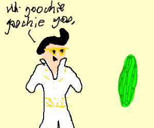Baby Elvis dancing with a Pickle