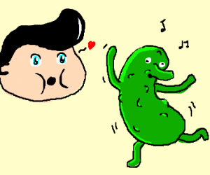 Elvis in love with dancing pickle