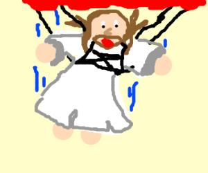 Jesus skydiving