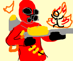 Pyro sets man on fire