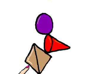 A sphere atop a cone atop a pyramid