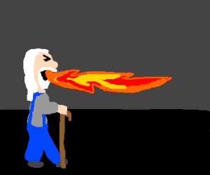 Old man breathing fire
