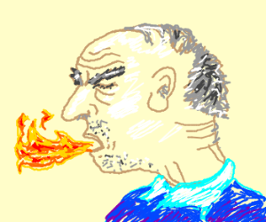 Old man coughs fire