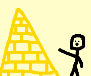 stick-man pointing at solid gold pyramid