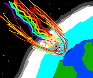 Nyan cat burns up in re-entry.