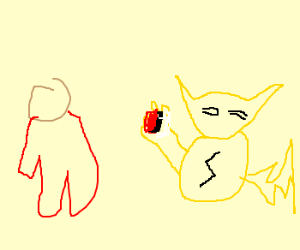 pikachu throwing a ball at a man