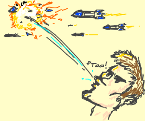 Man destroys missiles by spitting