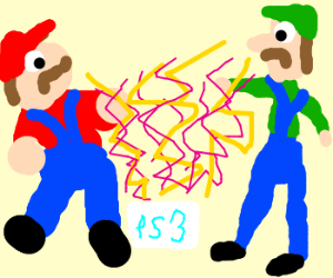 Mario and Luigi are shocked by the PS3