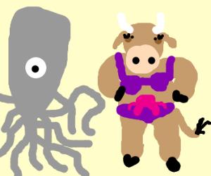 Cthulhu and a cow in a bikini