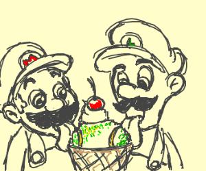 Mario and Luigi eat fake ice cream