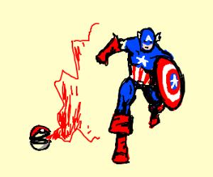 Poke ball releases Captain America