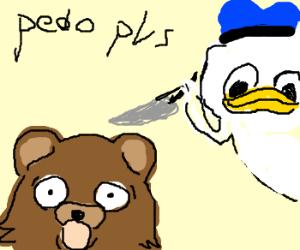 Pedobear being attacked