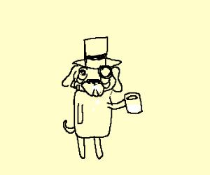 Classy pug drinking milk