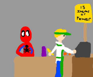 Spiderman Shops for Groceries