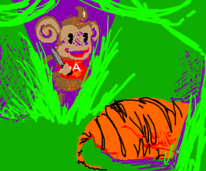 Super monkey is going to kill the tiger