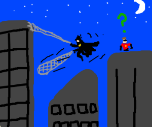 Robin confused at Batman W/ spidey power