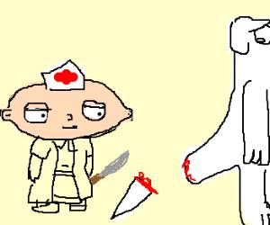 Nurse Stewie cuts off Brian's tail.