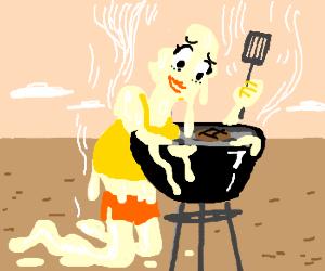 Plastick  girl melting on grill