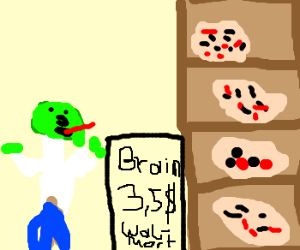 Zombie tries to buy Brains at Wal-Mart.