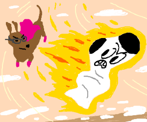 Superdachshund chasing flaming sock