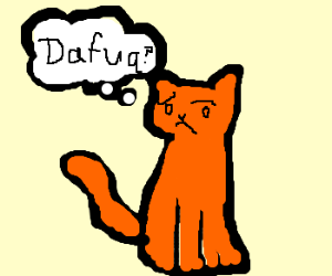 "Orange cat going ""DAFUQ?"" over something"