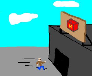 Man running into communist box factory