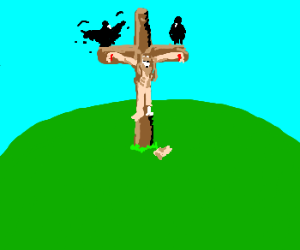 awesome looking decayed jesus on cross
