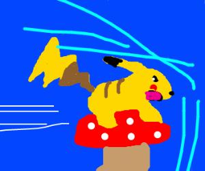A pikachu racing with a mushroom