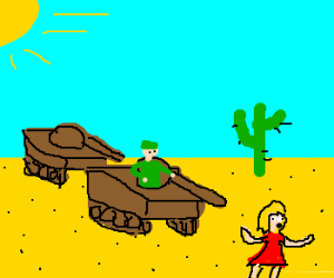 Tanks chasing a blonde