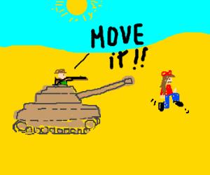 Hunter in Tank rushs girl through desert