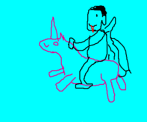Dracula riding a unicorn