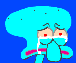 Squidward crying