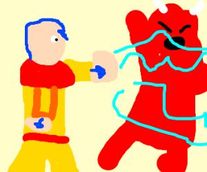 Avatar Aang slays Hellspawn w/ airblast.