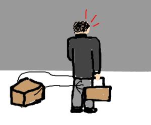 Pervert box fondles businessman