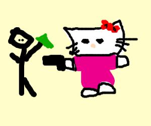 Hello Kitty commits theft at gunpoint.